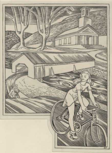 Drawing by Dudley Vaill Talcott: Covered Bridge, represented by Childs Gallery