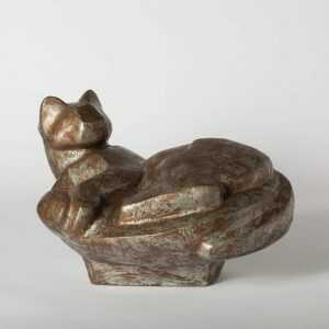 Sculpture By Dudley Vaill Talcott: Large Cat Curled Up At Childs Gallery