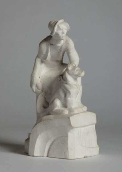 Sculpture by Dudley Vaill Talcott: Man with Dog, represented by Childs Gallery