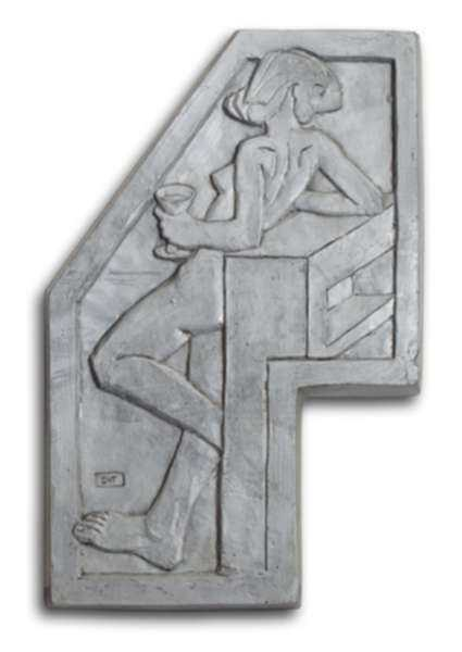 Sculpture by Dudley Vaill Talcott: Plaque of Woman with Wineglass (larger), represented by Childs Gallery