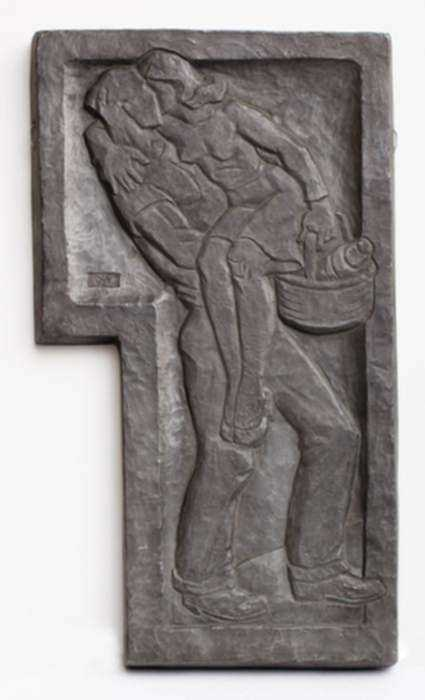 Sculpture by Dudley Vaill Talcott: Plaque with Man Carrying Woman with Basket, represented by Childs Gallery