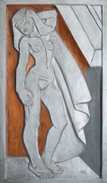 Sculpture by Dudley Vaill Talcott: Relief of Standing Woman with Drape, represented by Childs Gallery