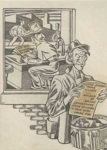 Drawing by Dudley Vaill Talcott: The Tabloids, represented by Childs Gallery