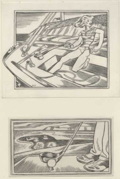 Drawing by Dudley Vaill Talcott: The Wing Acts the Same as a Sail, represented by Childs Gallery
