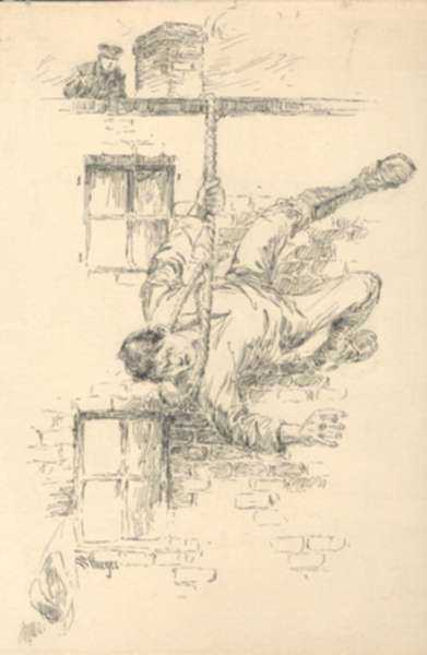 Drawing by Dwight C. Sturges: Death of Bill Sikes, represented by Childs Gallery