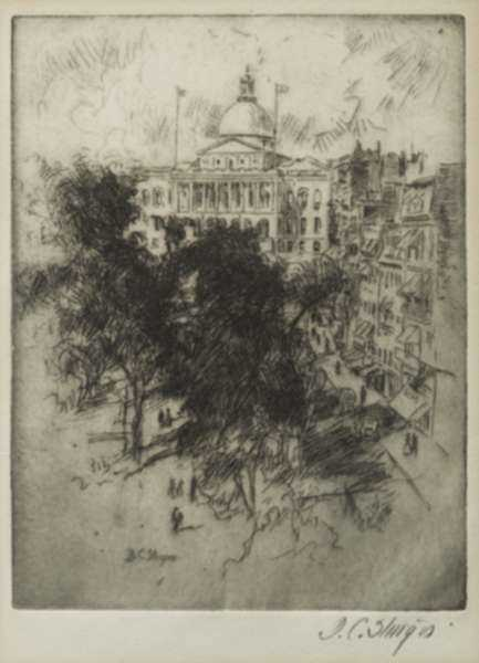 Print by Dwight C. Sturges: Front View of the State House [Boston, Massachusetts], represented by Childs Gallery
