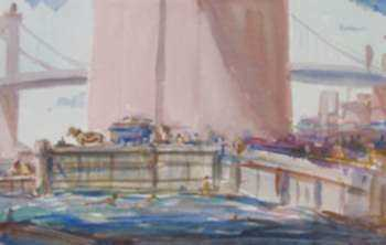 Watercolor by Edward Vance Warren: Swimming, Brooklyn Bridge Looking to Manhattan Bridge, represented by Childs Gallery