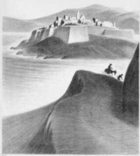 Print by Ellison Hoover: Calvi, Corsica, represented by Childs Gallery