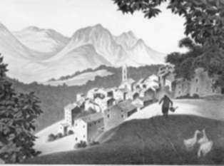 Print by Ellison Hoover: Evisa, Corsica, represented by Childs Gallery