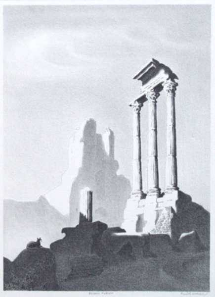 Print by Ellison Hoover: Roman Forum, represented by Childs Gallery