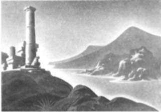 Print by Ellison Hoover: Ruined Columns, represented by Childs Gallery