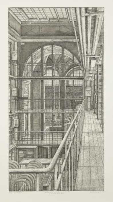 Print by Erik Desmazières: La Coursive nord-sud, from Le Magasin central des imprimés, represented by Childs Gallery