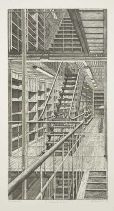 Print by Erik Desmazières: Les Escaliers côté est, from Le Magasin central des imprimés, represented by Childs Gallery