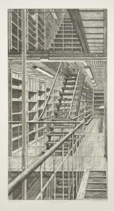 Print by Erik Desmazières: Les Escaliers côté est, from Le Magasin central des imprimés, represented by Childs Gallery