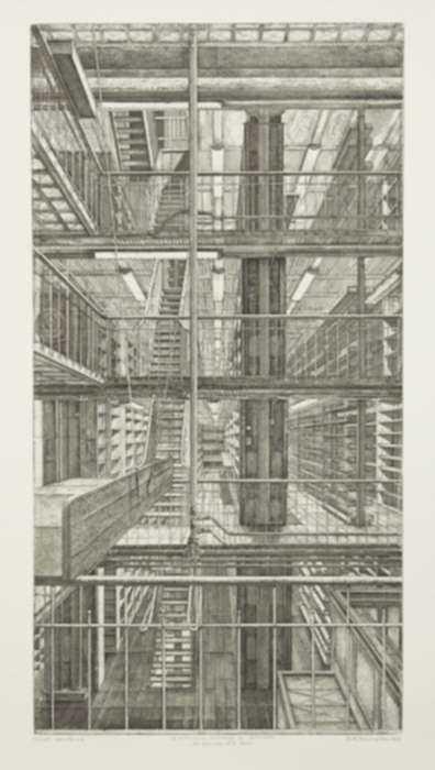 Print by Erik Desmazières: Les Réserves est-ouest, from Le Magasin central des imprimés, represented by Childs Gallery
