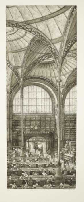Print by Erik Desmazières: Salle labrouste, coté nord, fragment, represented by Childs Gallery