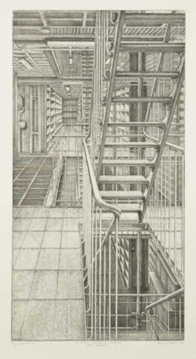 Print by Erik Desmazières: Travée est-ouest, from Le Magasin central des imprimés, represented by Childs Gallery