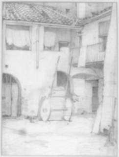 Drawing by Ernest D. Roth: Courtyard, represented by Childs Gallery