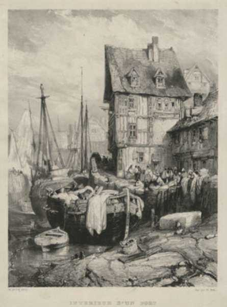 Print by Eugène Isabey: Interieur d'un Port, represented by Childs Gallery