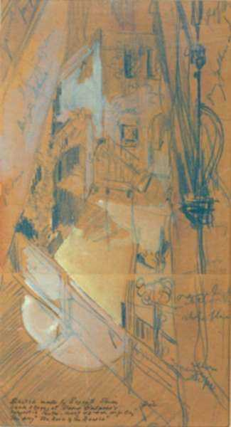 Drawing by Everett Shinn: Sketch for Rose of the Rancho, represented by Childs Gallery