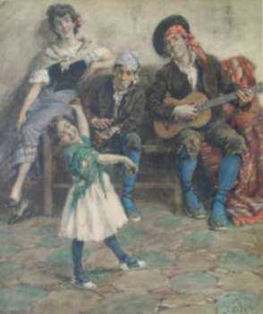 Watercolor by F. Luis Mora: La Jota, represented by Childs Gallery