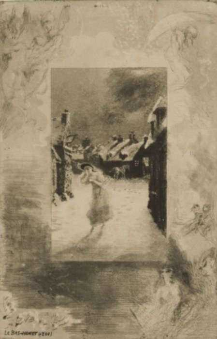 Print by Félix Buhot: Le Bas-Hamet, represented by Childs Gallery