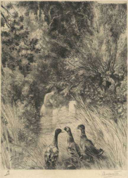 Print by Felix Bracquemond: Canards Surpris, represented by Childs Gallery