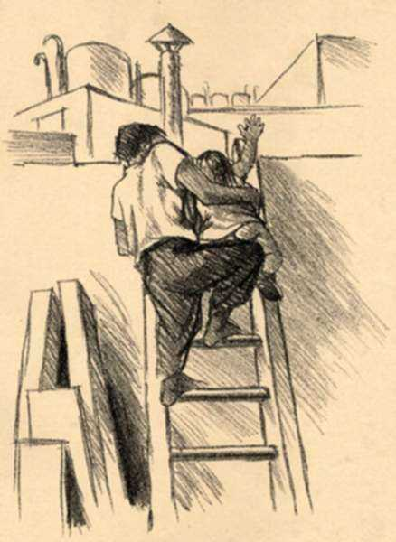 Print by Fernando Castro Pacheco: The Ladder, represented by Childs Gallery
