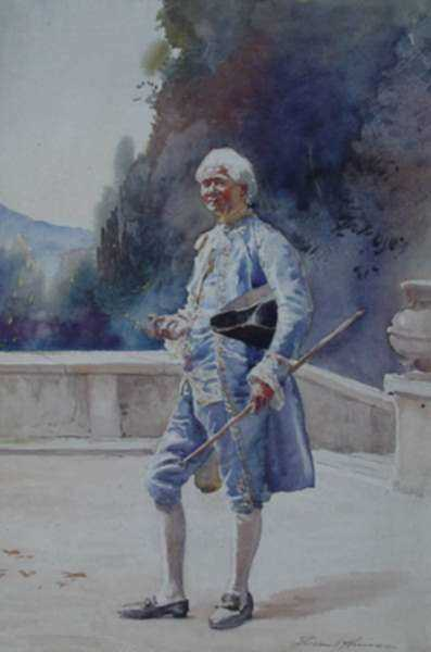 Watercolor by Florence Robinson: A French Gentleman (of the Old School), represented by Childs Gallery