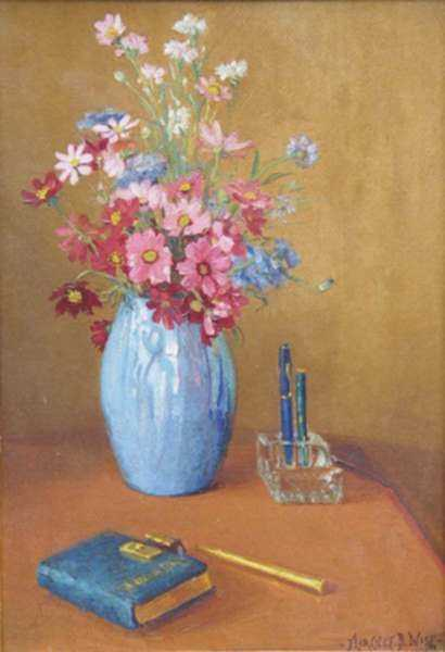 Painting by Florence Wise: Still Life with Flowers and Pens, represented by Childs Gallery