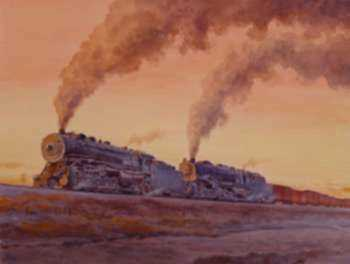 Watercolor by Francis Wenderoth Saunders: Chuggin' Home, represented by Childs Gallery