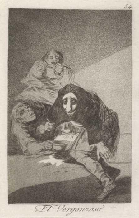 Print by Francisco José de Goya y Lucientes: El Vergonzoso, represented by Childs Gallery