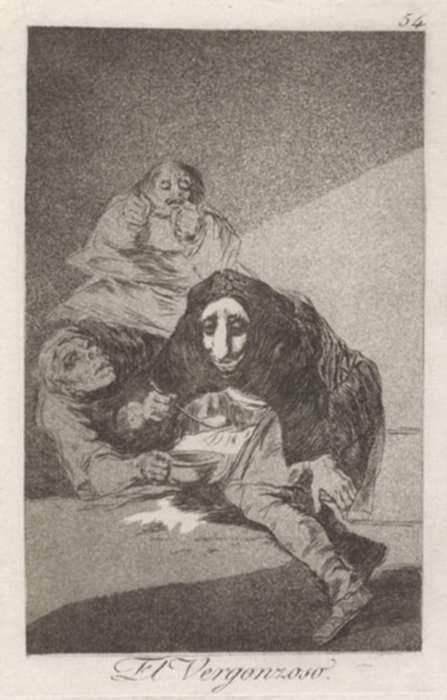 Print by Francisco José de Goya y Lucientes: El Vergonzoso, represented by Childs Gallery