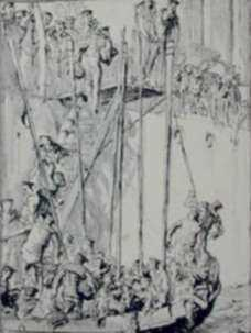 Print by Frank Brangwyn: Going Aboard, represented by Childs Gallery