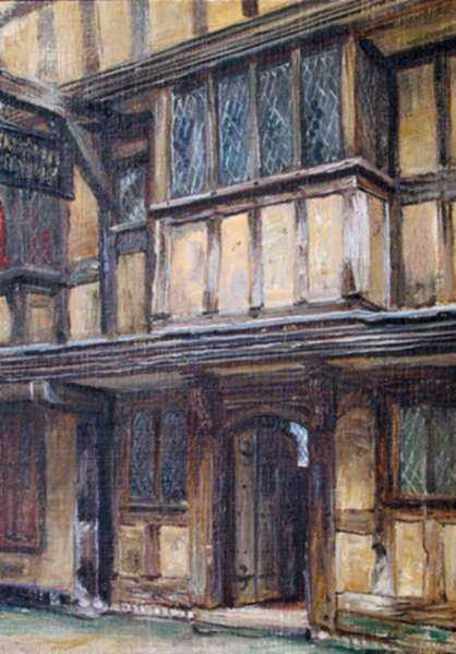 Painting by Frank Moss Bennett: Butcher's Row, Shrewsbury, represented by Childs Gallery
