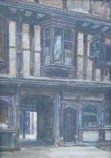 Painting by Frank Moss Bennett: Shrewsbury, represented by Childs Gallery