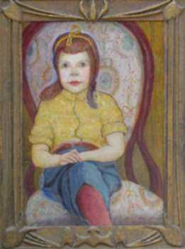 Painting by Frank Zell Heuston: Portrait of Mary Michael Tatham (The Little Lady), represented by Childs Gallery