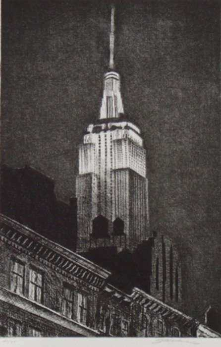 Print by Frederick Mershimer: Empire State, represented by Childs Gallery