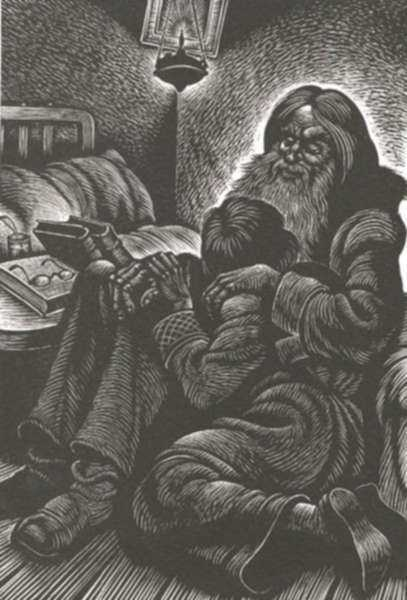 Print by Fritz Eichenberg: A Raw Youth [Boy and bearded man], represented by Childs Gallery