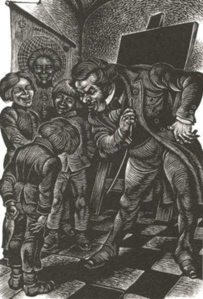 Print by Fritz Eichenberg: A Raw Youth [Boy with Schoolmaster], represented by Childs Gallery