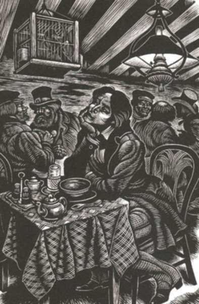 Print by Fritz Eichenberg: A Raw Youth [Man at Table], represented by Childs Gallery