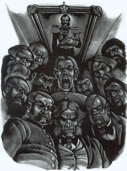 Print by Fritz Eichenberg: Brothers Karamazov [Men gathered around], represented by Childs Gallery