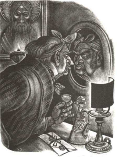 Print by Fritz Eichenberg: Brothers Karamazov [The Man in the Mirror], represented by Childs Gallery