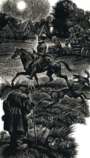 Print by Fritz Eichenberg: Childhood, Boyhood, and Youth [Rider in the Night], represented by Childs Gallery