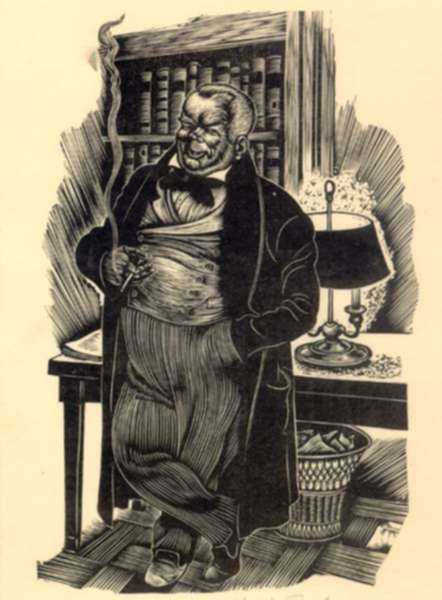 Print by Fritz Eichenberg: Crime and Punishment [Man smoking], represented by Childs Gallery