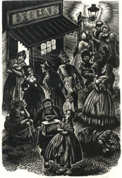 Print by Fritz Eichenberg: Crime and Punishment [Night Life], represented by Childs Gallery