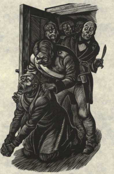 Print by Fritz Eichenberg: Crime and Punishment [Praying], represented by Childs Gallery