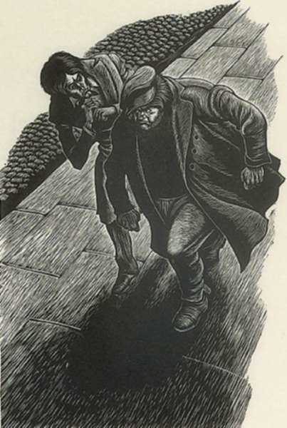 Print by Fritz Eichenberg: Crime and Punishment [Two men at night], represented by Childs Gallery