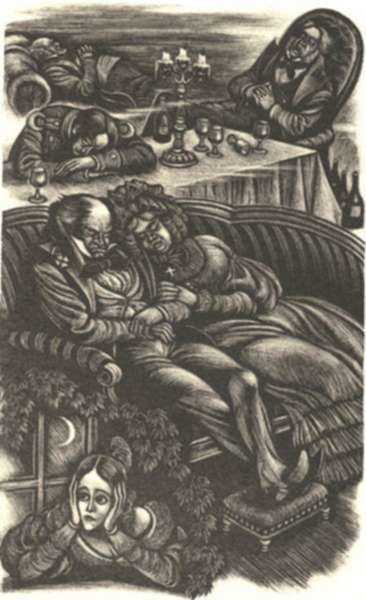 Print by Fritz Eichenberg: Eugene Onegin [Asleep after the meal], represented by Childs Gallery