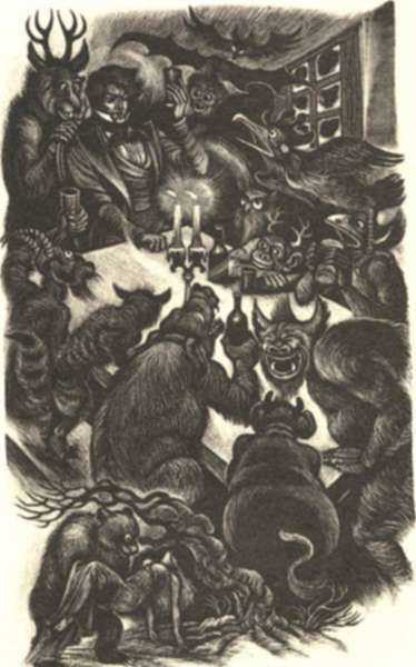 Print by Fritz Eichenberg: Eugene Onegin [At the table], represented by Childs Gallery